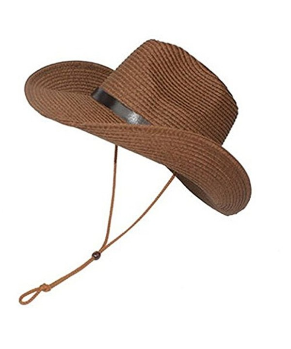 LUOEM Cowboy Sun Hat Wide Brim Hat Summer Beach Straw Cap Foldable Caps (Coffee) - CY182IYA2AD