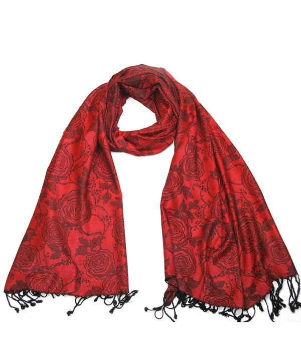 Lovarzi Beautiful Floral Jacquard Pashmina Scarf with Rose Design - Red - C411GRWFZVV