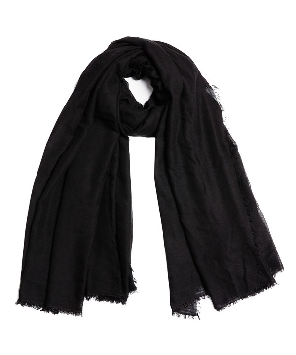 QBSM Women Soft Crinkle Scarf Shawls Pashmina Solid Cotton Wraps Hijab Cover Up - Cotton Black - CQ18346IS49