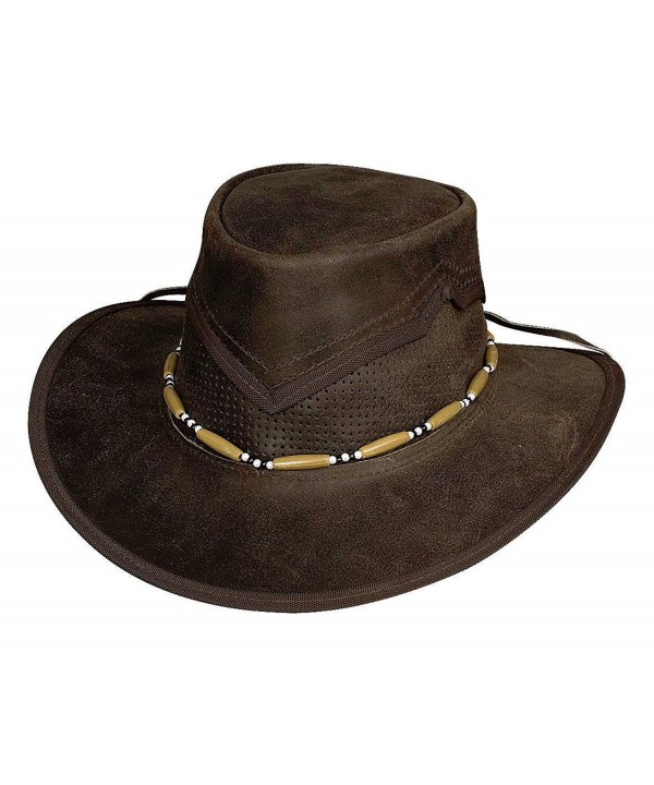 Bullhide Montecarlo KANOSH Top Grain Leather Aussie Style Western Hat Dark Brown Small - CW11KYR22RP