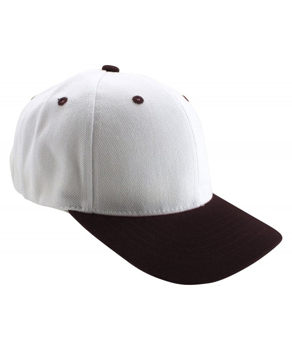 Enimay Two-Tone Canvas Baseball Caps Adjustable Velcro Strap Curved Bill Hat - White Dark Brown - CD124YDN6BF