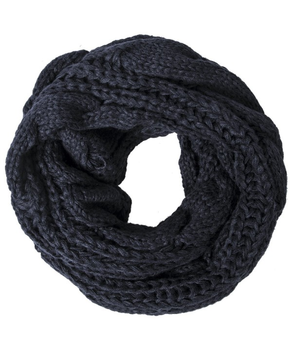 Loritta Womens Winter Warm Ribbed Thick Knit Infinity Scarf Circle Loop Cowl Scarf - Black - CW1859DY0A4