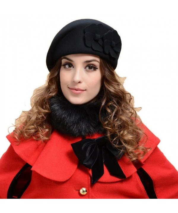 YueLian Solid Color Flower Women French Wool Beret Warm Ski Beanie Hats Cap Petrine Berets - Black - CN125K2LKSP