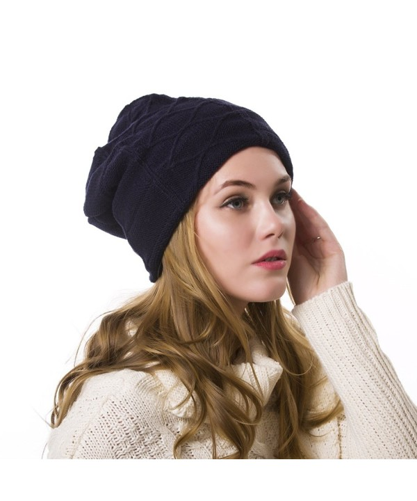 Nine City Stylish Unisex Baggy Beanie Slouchy Crease Knit Beanie Baggy Skull Cap Hat (Navy) - C812MN19K47