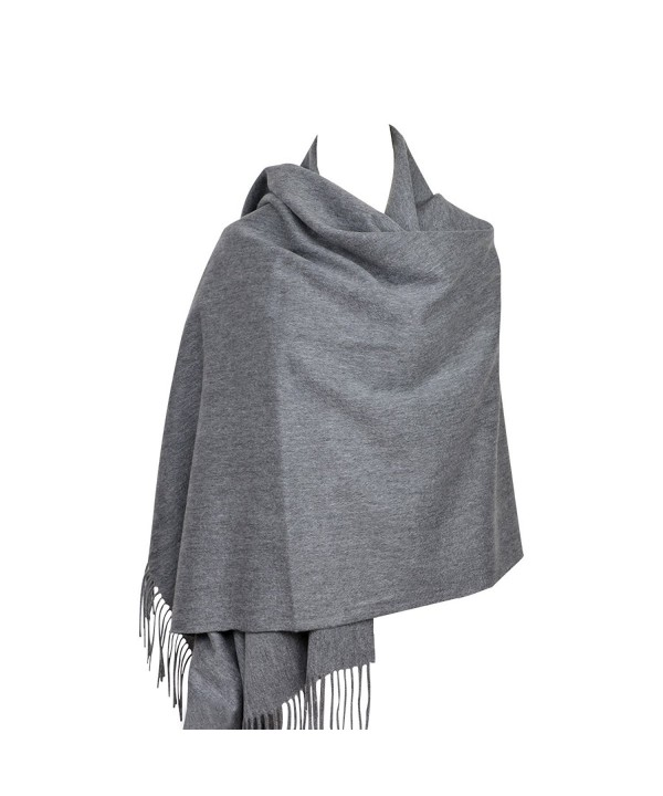 "100% Lambswool Women Large Scarf Shawl Wraps Solid Color Thicken Type 78""x 28"" - Dark Gray - CE186ZWOXS2"