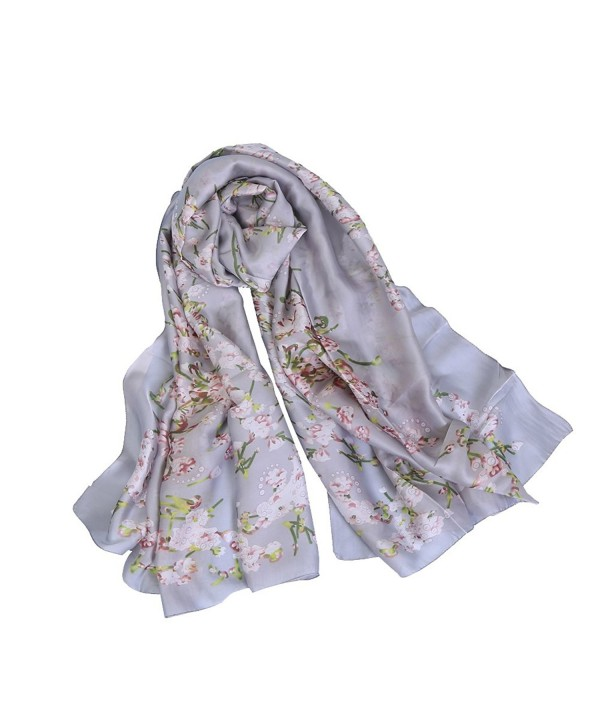 Synthiiz Silk Scarf Georgette Shawl Wrap With Flower Print Large Size For Woman - French Gray - CR185H4EI39