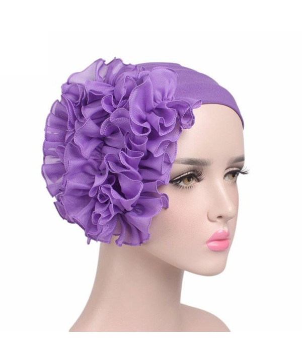 Littleice Women Flower Cancer Chemo Hat Beanie Scarf Turban Head Wrap Cap Headband - Purple - CR185W86IEW