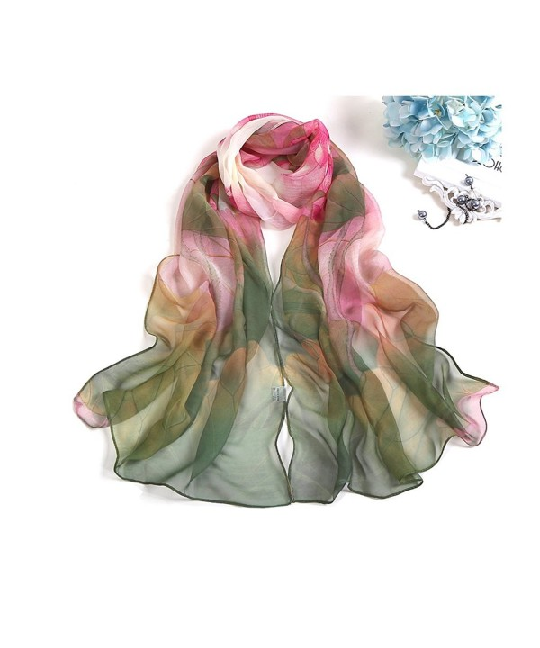 MELODY STORY Unique Print Silk Feeling Scarf For Women 63x20 Inches - Green - CV18466L2QD