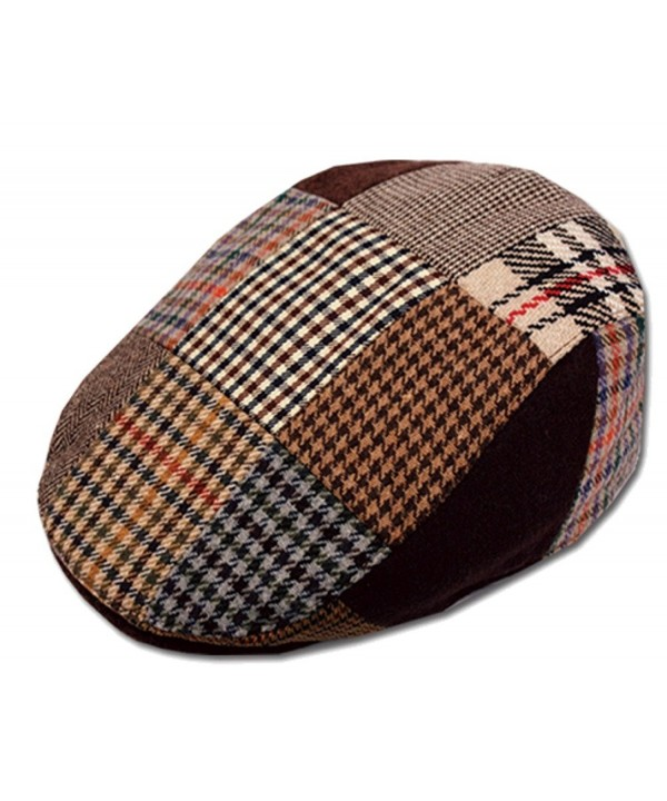 Men's Patchwork Wool Duckbill Ivy Newsboy Caby Irish Tweed Cap Hat - C211PKG8W5L