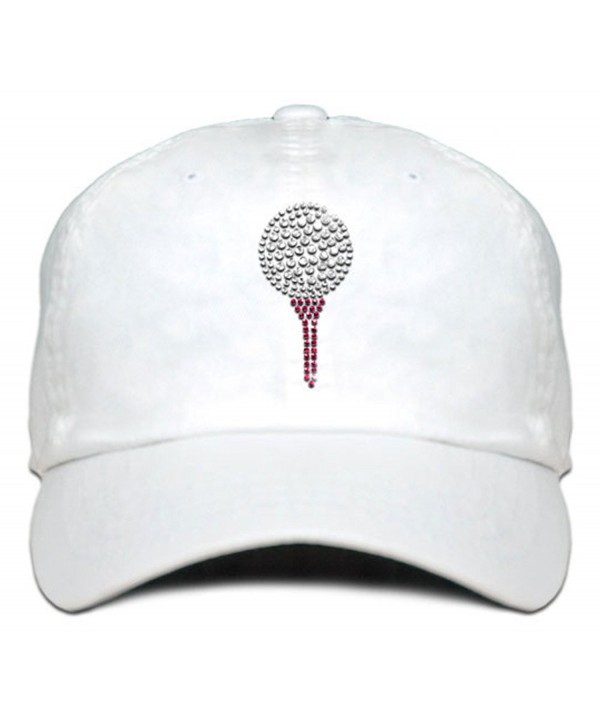 Ladies Cap with bling Rhinestone design of Golf Ball and Tee - White - CY182WZUMO5