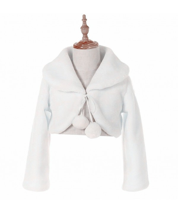 1Y-10Y White Ivory Off Pink Flower Girl Faux Fur Wraps Cape Kids First Communion - White Style C - CZ180Z2O3QG