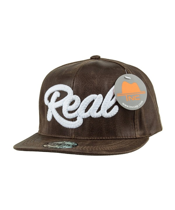 TNC Unisex-adult Crack Synthetic Leather Snapback Brown - CB12D8ZJJV1