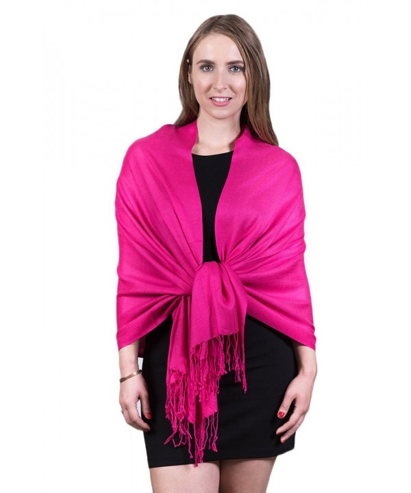 Fashmina Pure Solid Pashmina Shawl Scarf - Silky soft- Opaque - Hot Pink - CU1880THENS