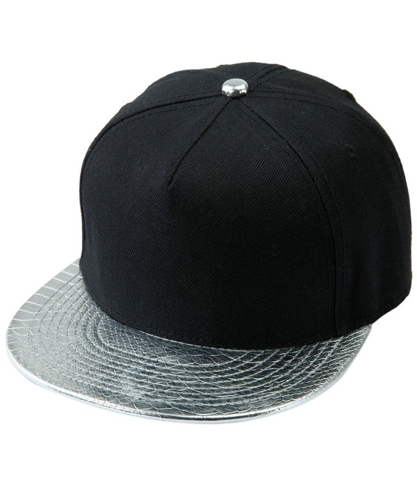 Samtree Unisex Snapback Hats-Adjustable Hip Hop Flat Brim Baseball Cap - 04-silver & Black - CJ17YII0A07