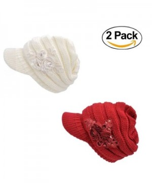 Fashion Hat Women's Cable Knit Visor Hat - CP187R3MUH4