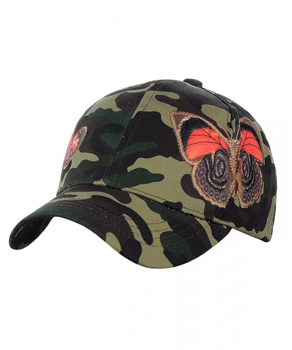 C.C Camoflauge Butterfly Print Adjustable Precurved Cotton Baseball Cap Hat - C017XXE73SK