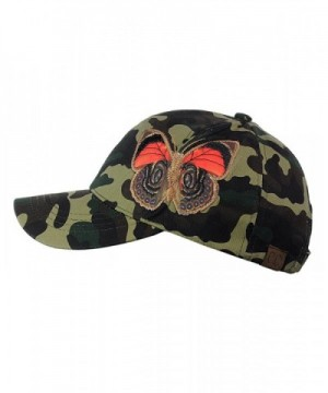 C C Camoflauge Butterfly Adjustable Precurved in Women's Baseball Caps
