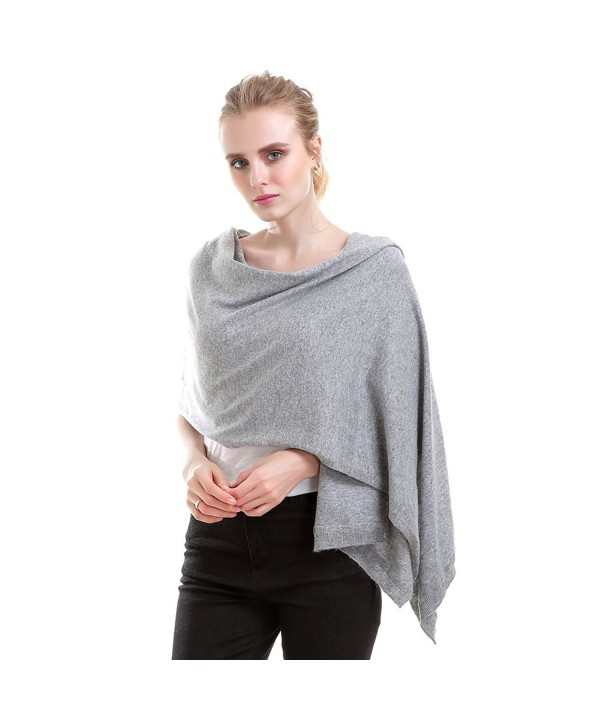 Vemolla Women Knitted Wool Solid Long Shawl Scarf Warp - Soft Grey - CV187R8RLKH