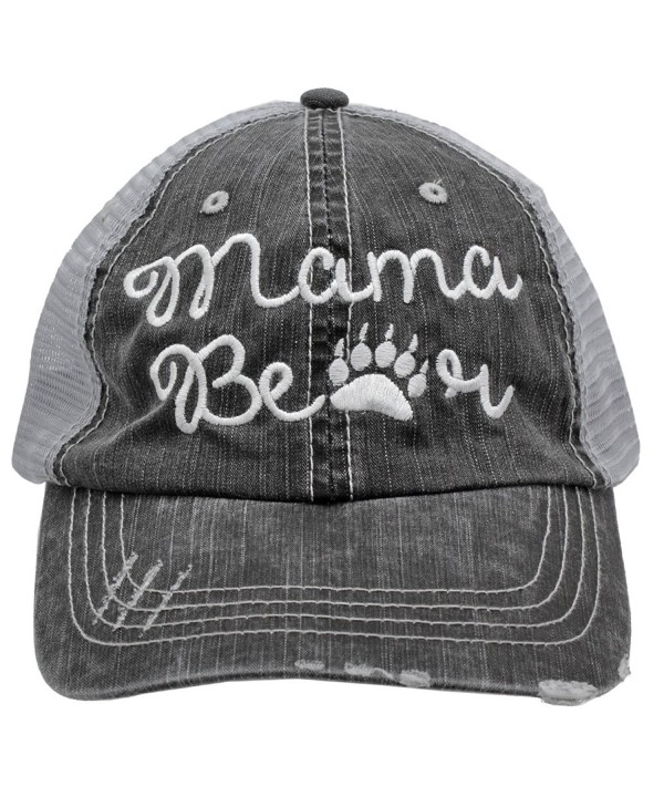 White Mama Bear Paw Print Women Embroidered Trucker Style Cap Hat - CC182ADITAY