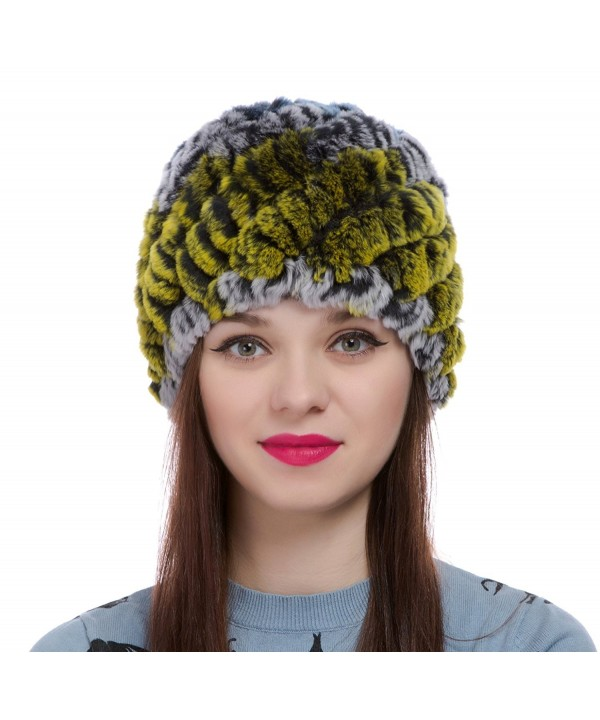 ZUUC Women's Real Rex Rabbit Fur Knitted Beanie Winter Warm Hats Caps - Green + Blue - CF12OB8RURM