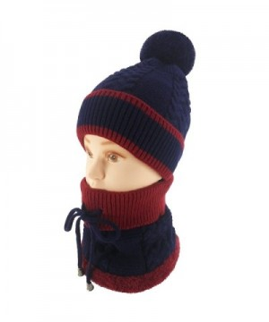 Ledamon Winter Slouchy Beanie Cable Knit Skull Hat Warm Scarf Thick Ski Cap For Men Women - Dark Blue - CB1888AQW8R