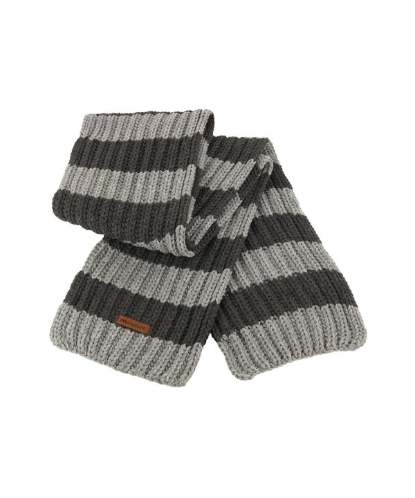 Result Unisex Winter Chunky Knit Stripe Windproof Scarf - Grey/Charcoal - C511HCNCV1B