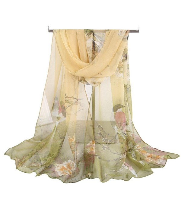 DEESEE(TM) Women Soft Thin Chiffon Silk Scarf Animal Bird printed Scarves Wrap Shawl - Green - CQ12N23GYCI