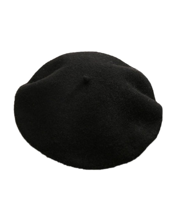 Yamer Women Girl 2017 Classic Wool Beret Hat French Style Cap Solid Color Beanie - Black - CP188HAMER7