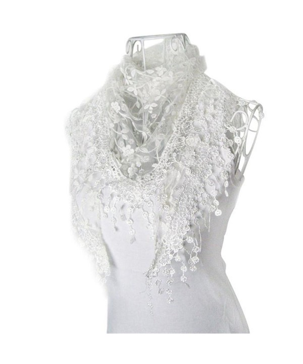 Ammazona Fashion Lace Tassel Sheer Burntout Floral Print Triangle Mantilla Scarf - E - CH12HKDG1NL