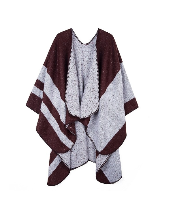 PULI Women's Color Block Blanket Scarf Winter Pashmina Reversible Cardigans Wrap Poncho Cape - Brown - CR1889HR65I