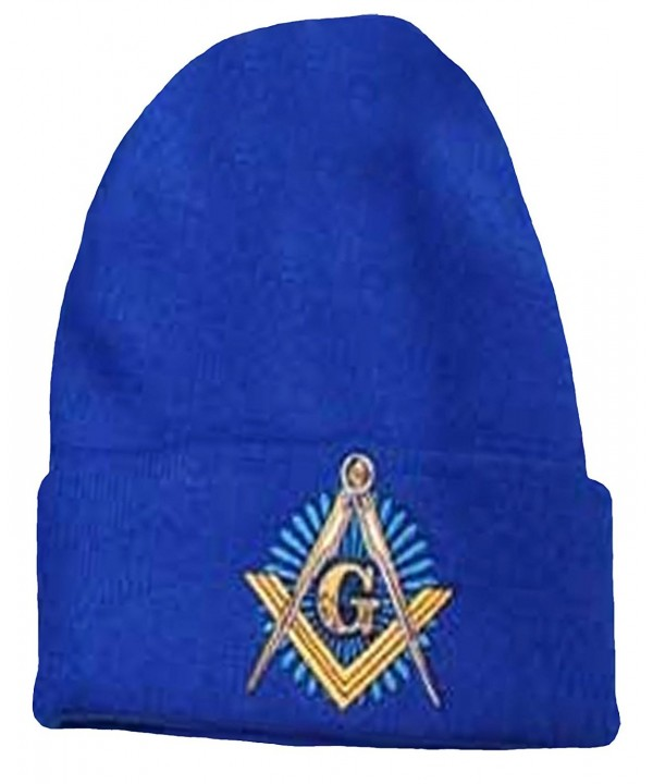 Mason Blue Winter Skull Cap Knit Ski Hat Masonic Lodge Cuffed Beanie - CZ126ZL2HYB