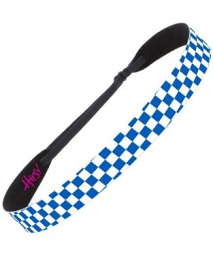 Hipsy Women's Adjustable NO SLIP Checkerboard Wide Fashion Headband Multi Gift Packs - Wide Blue & White - CN12EUKGZZB