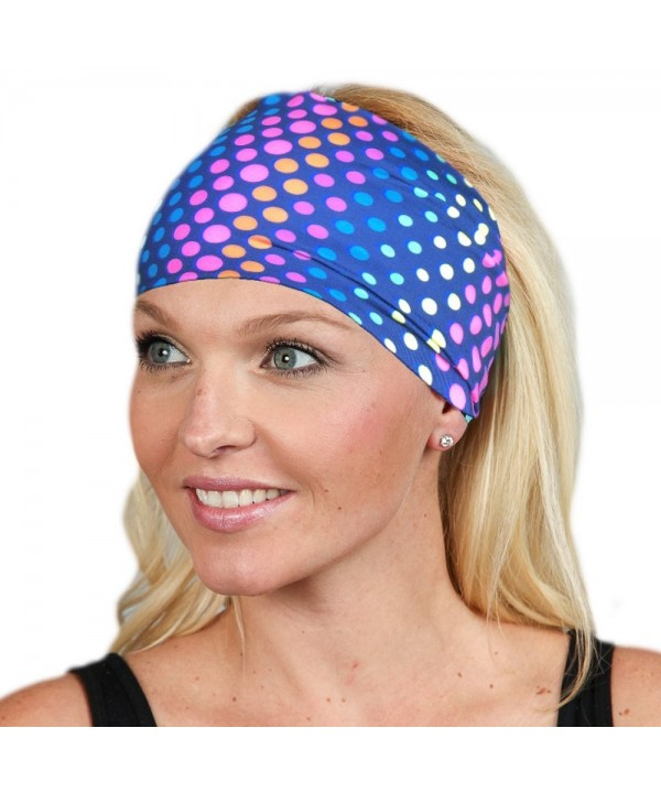 Wide Headbands for Women Headwrap Yoga Headband Women's Headband Workout band - Colored Dots - CI1899T9MEA