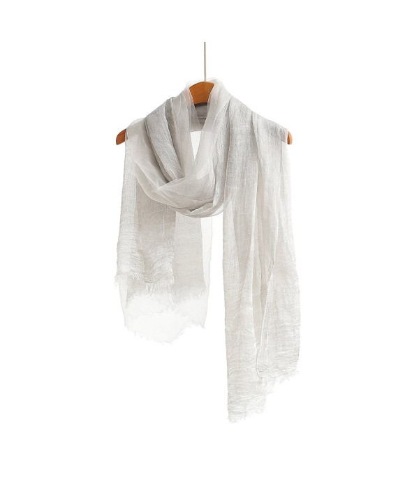 WS Natural Silk Cotton Scarf / Shawl / Wrap /Sheer For Women Lightweight Fashion Scarves And Wraps - Gray - CR18207LS8R