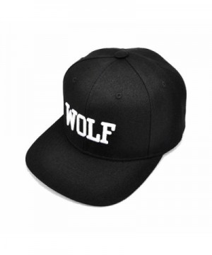 AStorePlus Super Cool Baseball Hat Hip-Hop Wolf Adjustable Embroidery Snapback Cap- Black - Black - CN17YWYSLKT