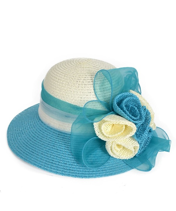 Lady Dress Straw Cloche Sweet Cute Floral Bucket Hat Bridal Church Derby Cap W204 - Turquoise - CE17YCUWGZH