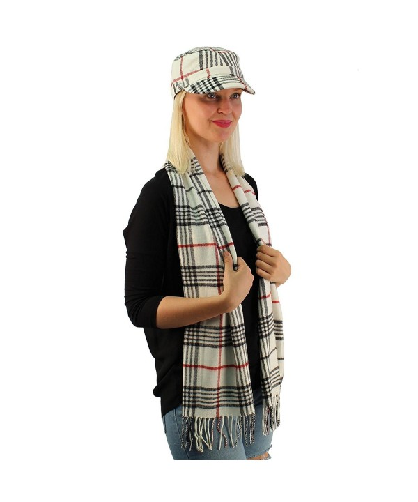 Ladies Teens 2pc Winter Plaid Cadet Cabbie Gi Cap Hat Ultra Soft Scarf Set - White - CQ186RISQAK