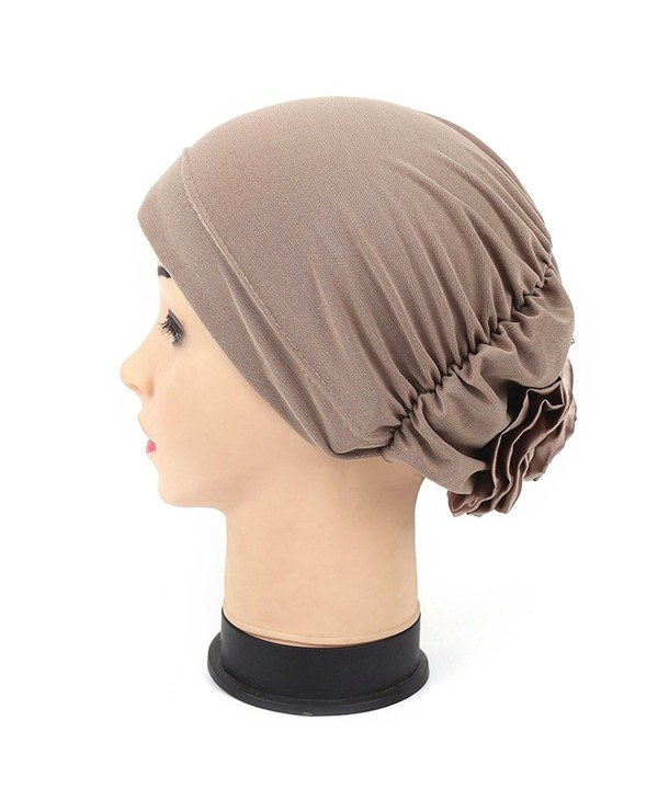 Women Turban Back Flower India Hat Muslim Headscarf Chemo Beanie - Light Coffee - C817Z77TAU2