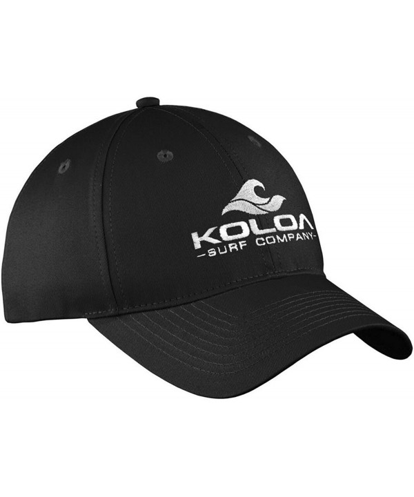 "Koloa Surf 3"" Wave Logo ""Old School"" Curved Bill Solid Snapback Hats - Black With White Embroidered Logo - CD17YK92X29"