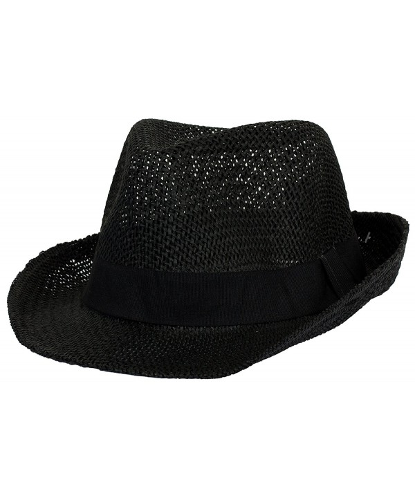 DRY77 Straw Light Net Pattern Fedora Hat with Solid Brand - Black - CP1221PMUVF