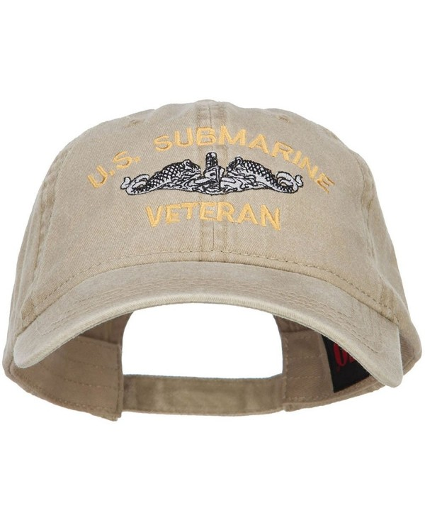 E4hats US Submarine Veteran Military Embroidered Washed Cap - Khaki - C8186N5O96L