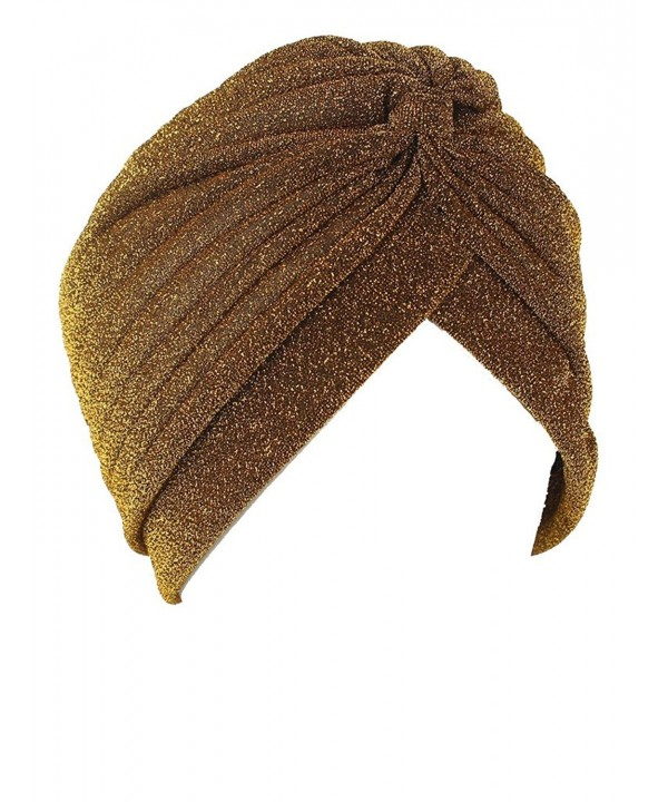 Women's Perfect Fit Beautiful Turbans Hat Hair Wrap Cover Up - Gold - C2182IYWLWR