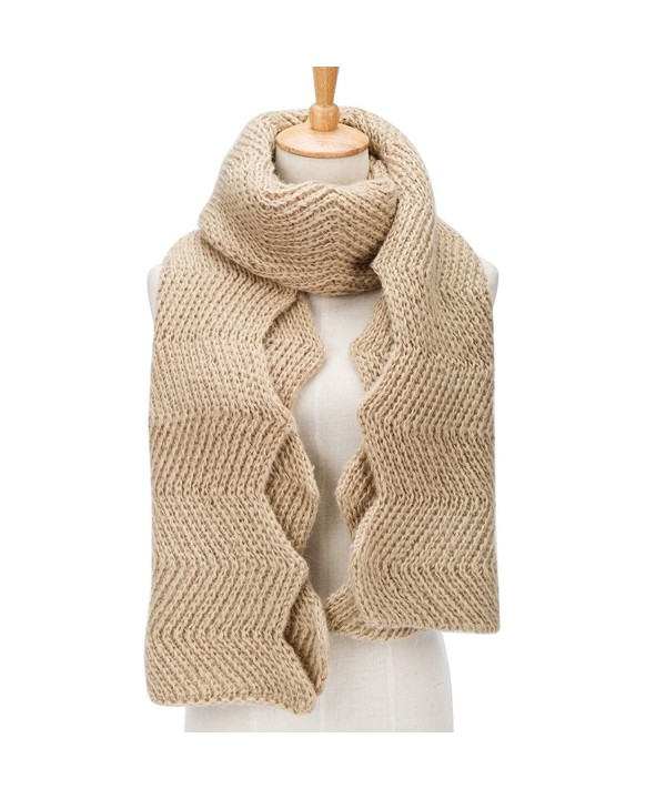 PORPRE Women's Fashion Thick Knit Long Twist Shoulder Scarf Warm Shawl - Khaki - CK12NH8BDCZ
