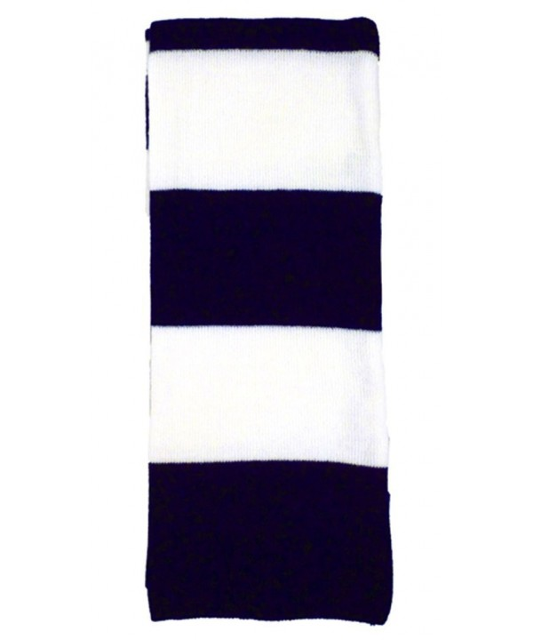 "Warm Winter Long Acrylic Bold Striped Scarf - ""		 	 Navy/White	 	"" - CL11EF3I7O1"
