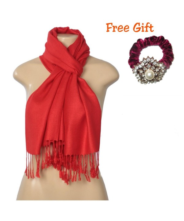 "Elegant Pashmina Silk Blend Soft Wrap Scarf Shawl For Women - Solid Colors "" FREE GIFT "" - Red - CX1852EED2W"