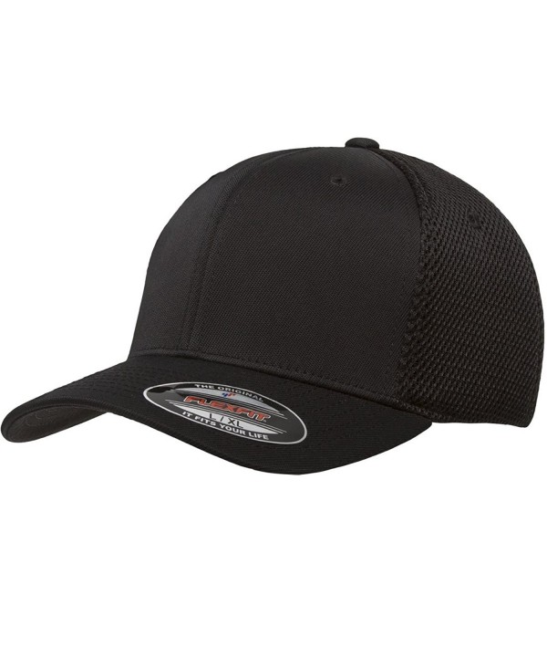The Hat Pros Premium Flexfit Ultrafibre Mesh Fitted Cap - Black - C0189AAR23O