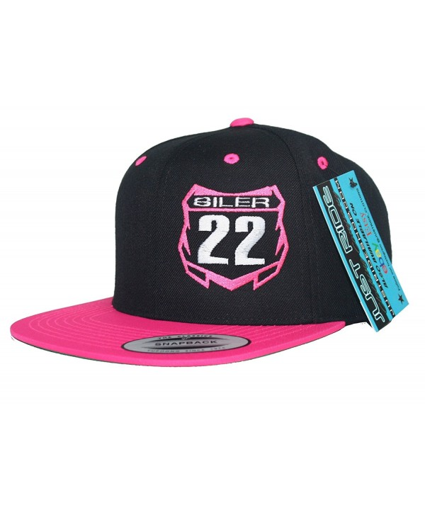 JUST RIDE Custom Personalized Motocross Number Hat Flat Bill Snapback - Pink/Black - CT12CGJXR1D