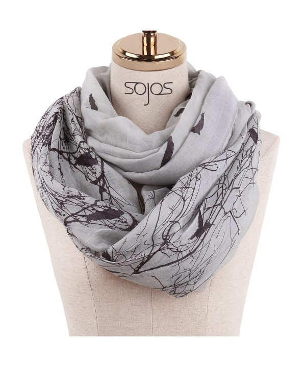 SOJOS Womens Fashion Pattern Premium Soft Lightweight Loop Infinity Scarf SC311 - C9 Grey Forest - CP186W5AEMT