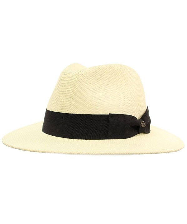 "Men's Summer Lightweight Panama Derby Fedora Wide 2-3/4"" Brim Hat - Ivory - C217YLX5868"