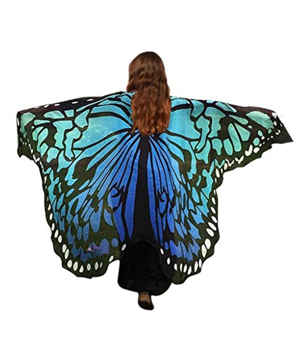 HITOP Women Soft Chiffon Halloween Party Butterfly Wings Shawl Festival Wear Dress Up Cape - Black/Blue - C8186ZW9NCR